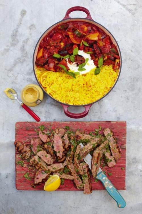 Grilled steak ratatouille and saffron rice