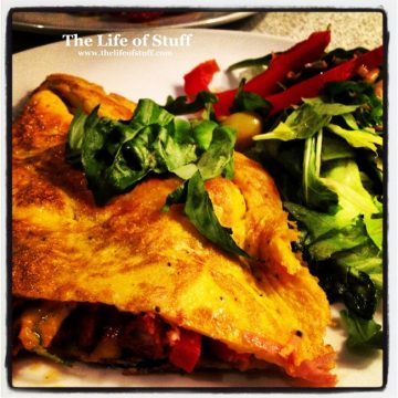 Edwina's Chorizo and Cheese Omelette and Salad