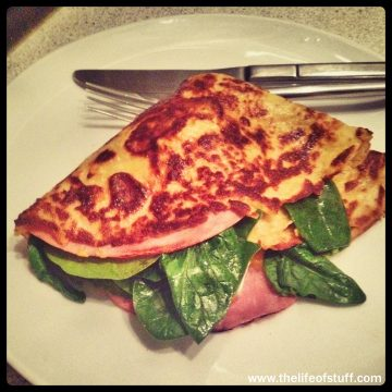 Two Cheese, Ham and Spinach Crepe