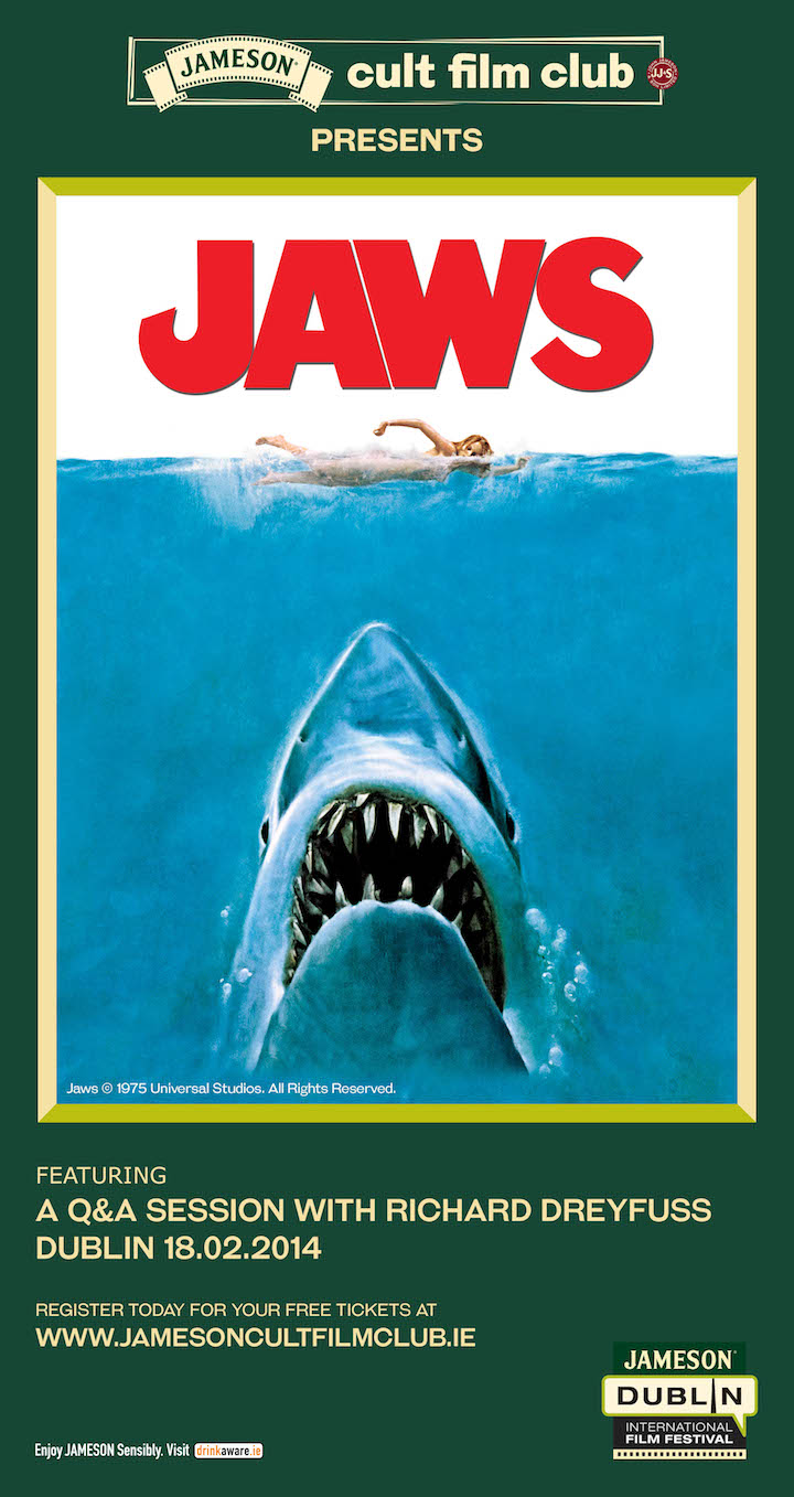 12th Jameson Dublin International Film Festival – Richard Dreyfuss – Jameson Cult Film Club and JAWS