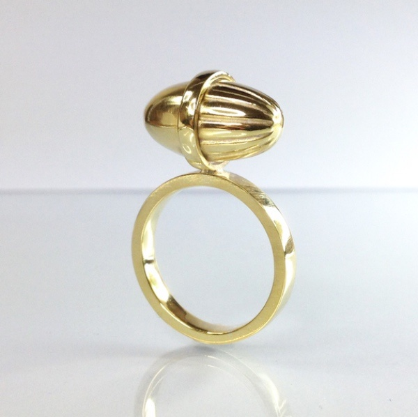 10 Irish Designed Jewellery You'll Covet Deirdre O'Donnell 9ct Yellow Gold Fluted Acorn Ring €895.00
