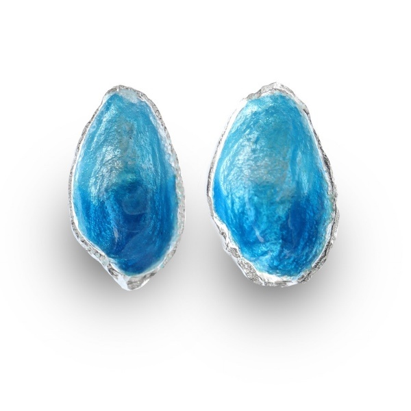 10 Irish Designed Jewellery You'll Covet Eily O'Connell Pistachio Stud Earrings with Sea Horizon Enamelling €115.00