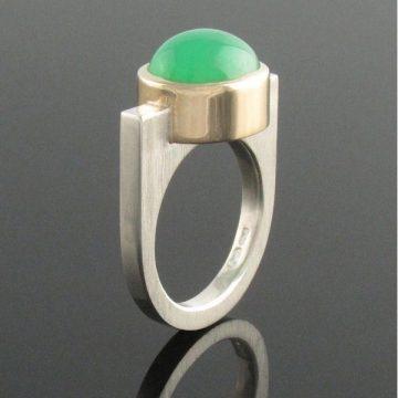 10 Irish Designed Jewellery You'll Covet Eva Dorney Goldsmith 9ct Bezel Set Chrysoprase on U-Shaped Silver Ring €345.00