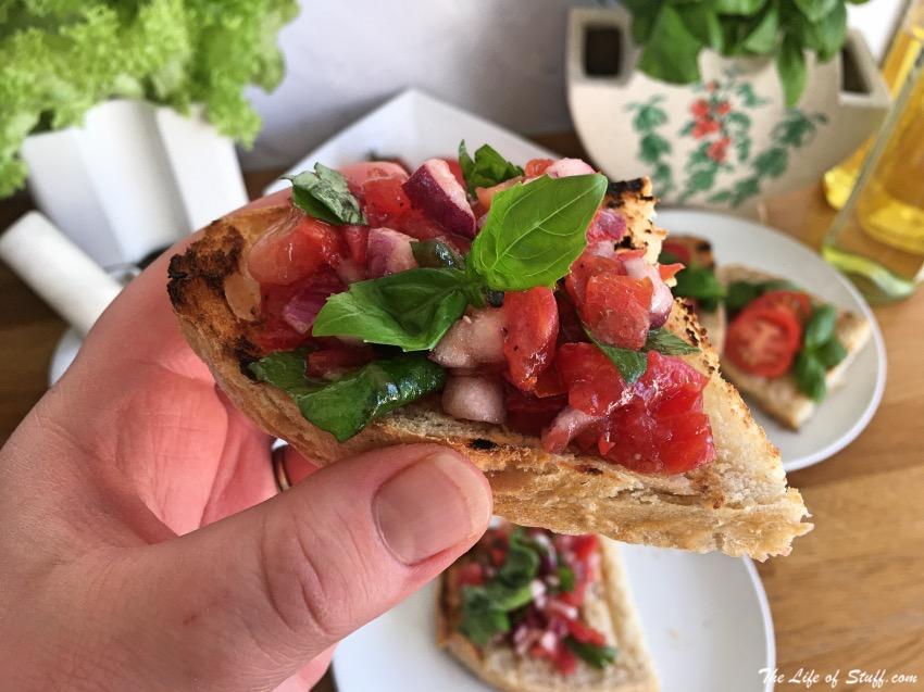 Homegrown Tomatoes Recipes - Bruschetta is Best - Tomato, Basil, Red Onion